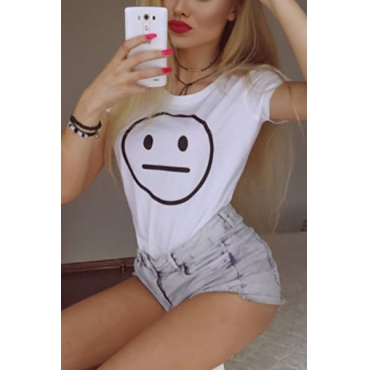 Leisure Round Neck Short Sleeves Printed White Polyester T-shirt