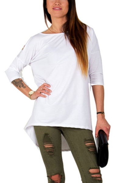 Leisure Round Neck Short Sleeves Printed Asymmetrical White Polyester T-shirt