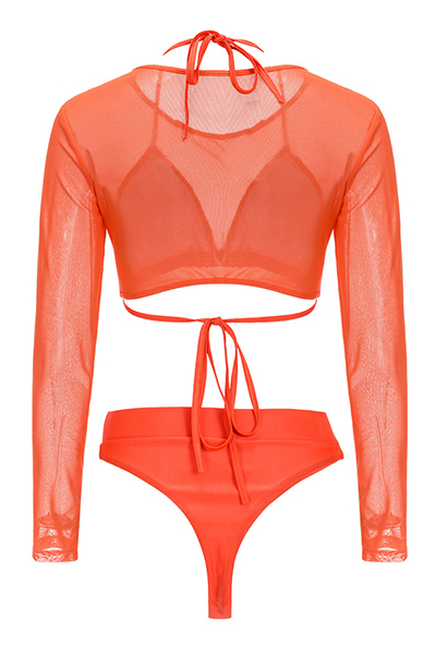 Euramerican Orange Polyester Three-piece Swimwear