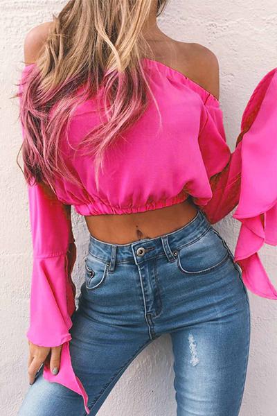 Charming Bateau Neck Long Sleeves Falbala Design Rose Red Chiffon Shirts<br>