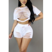 White Cotton Blend Shorts Solid O neck Short Sleeve Sexy Two Pieces