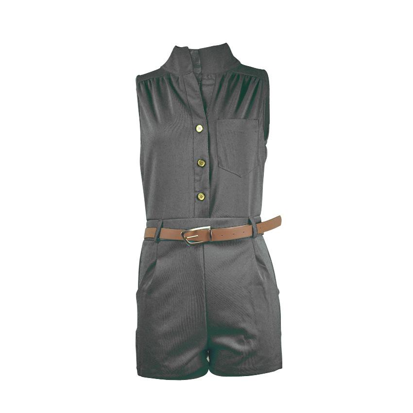 Trendy Round Neck Sleeveless Button Design Black Polyester One-piece Jumpsuits (With Belt)