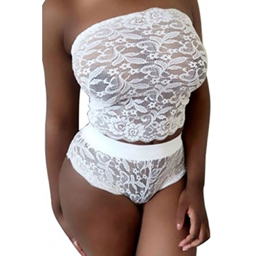 Sexy Strapless Patchwork Hollow-out White Lace Two-piece Shorts Set