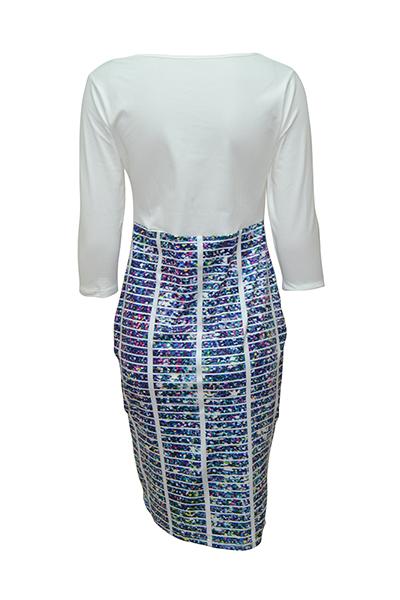 Elegante cuello redondo mangas de tres cuartos impreso remiendo azul vestido de poliéster vaina longitud de la rodilla