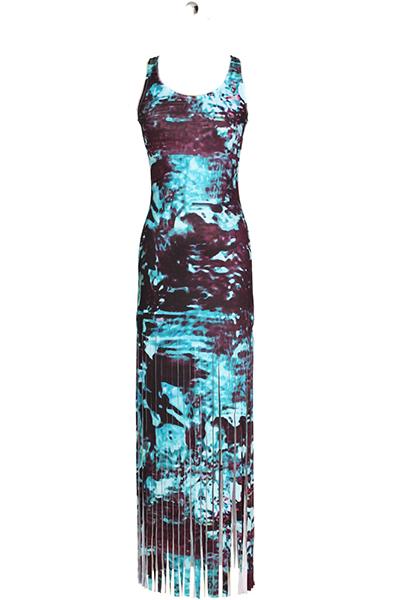 Stilvoller runder Hals Ärmelloser Troddel Design See Blue Qmilch Mantel Knöchel Länge Kleid