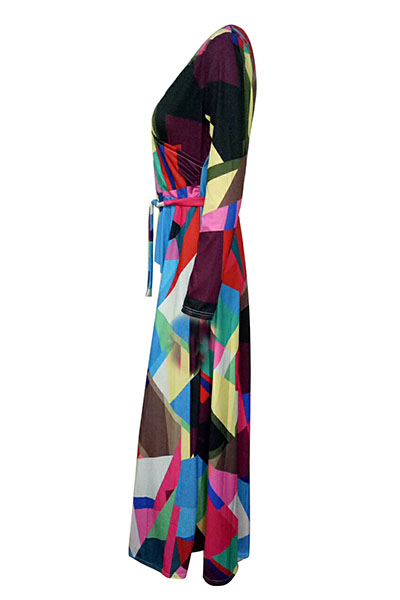 Euramerican V-Ausschnitt Drei Viertel Ärmel Digitaldruck Gesundes Gewebe Stock Länge Kleid