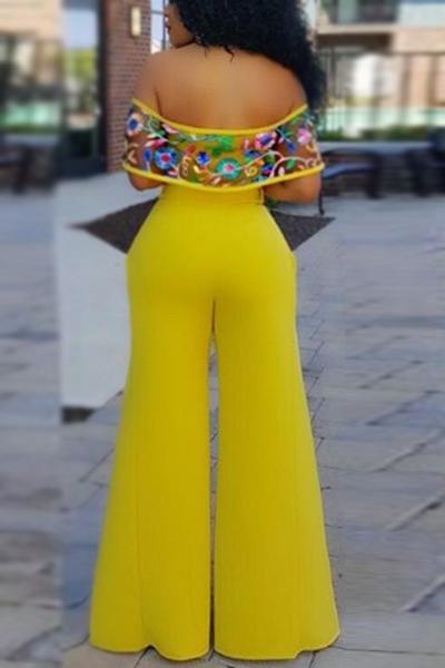 Элегантные комбинезоны с длинным рукавом с высоким вырезом из желтого сплава Бато
