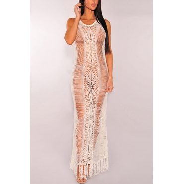 Sexy Round Neck Sleeveless Hollow-out White Polyester Cover-Ups