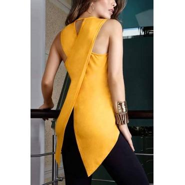 Fashion Round Neck Sleeveless Asymmetrical Yellow Polyester Tank Top