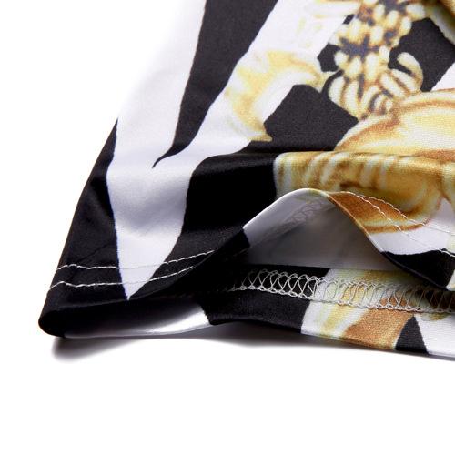 Jerseys De Algodón Mezclas O Cuello De Manga Corta Hombres De Impresión Ropa