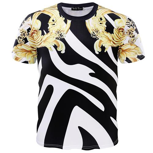 Pullovers Cotton Blends O Neck Short Sleeve Print Men Clothes