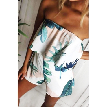 Charming Dew Shoulder Sleeveless Printed White Polyester One-piece Jumpsuits