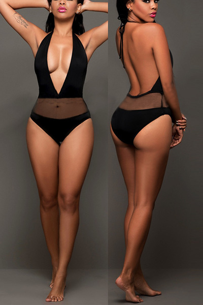 Sexy Deep V Neck Yarn Splicing Black Nylon One-piece Swimwear