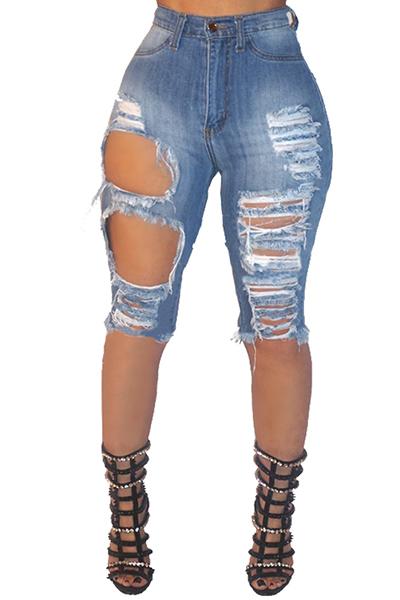 Jeans Solid Capris Jeans Fly Cap