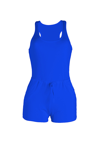 Leisure Sleeveless Drawstring Design Blue Polyester One-piece Skinny Jumpsuits