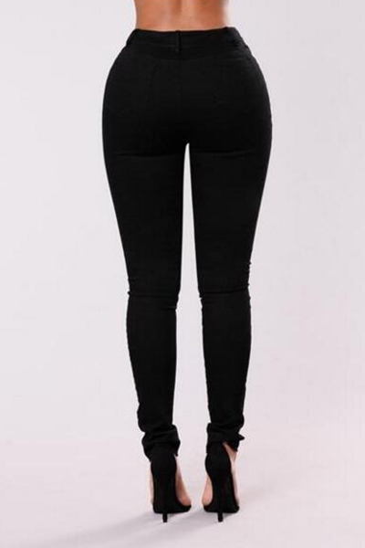 Stylish Mid Waist Embroidery Design Black Denim Pants