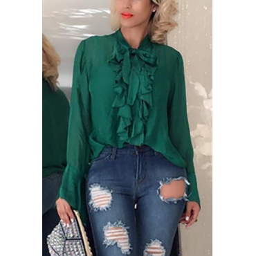 Pullovers Chiffon V Neck Long Sleeve Solid Blouses&Shirts