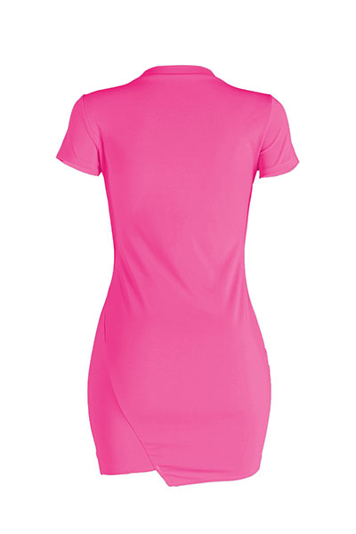 Leisure Round Neck Short Sleeves Broken Holes Rose Red Polyester Mini Dress