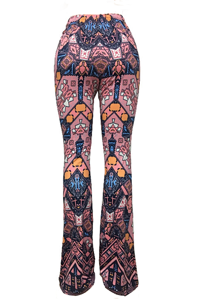 Euramerican High Waist Printed Cotton Pants