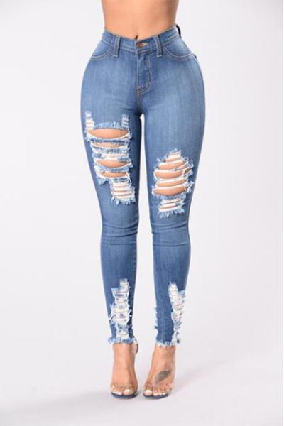 Stylish High Waist Broken Holes Light Blue Cotton Jeans