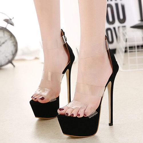 Stylish Round Peep Toe Hollow-out Stiletto Super High Heel Black Plastic Sandals