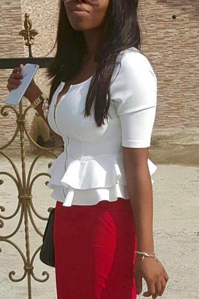 Stylish Round Neck Half Sleeves Falbala Design White Polyester Shirts