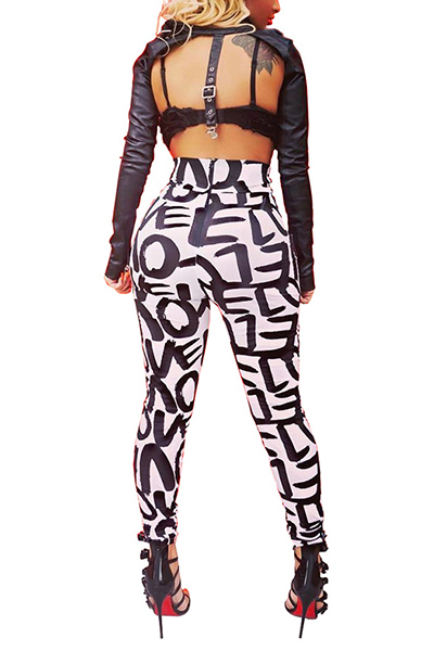 Stylish High Waist Letters Printed Qmilch Pants