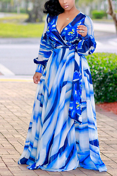 Euramerican V Neck Long Sleeves Digital Printing Blue Twilled Satin Floor Length Dress Dresses <br><br>