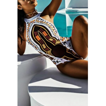Euramerican Totem Printed White Polyester One-piece Swimwear