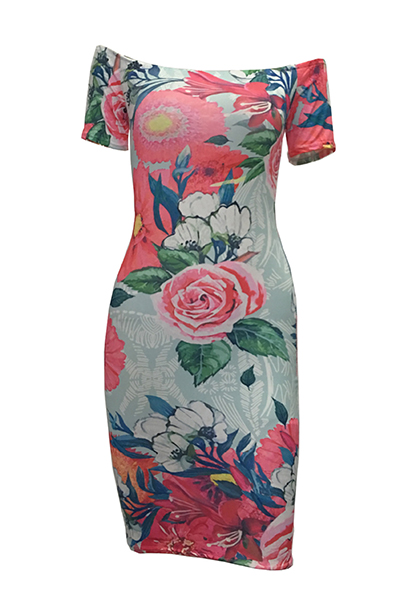 Fashio Dew Shoulder Short Sleeves White Floral Print Sheath Knee Length Dress