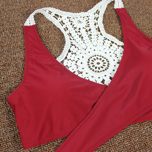 Euramerican Patchwork Wine Red Polyester Two-piece Swimwear