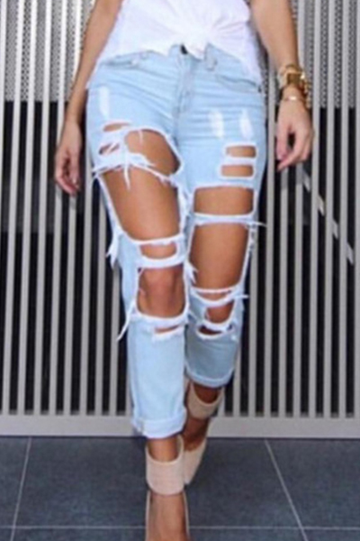 Stylish High Waist Broken Holes Light Blue Denim Jeans