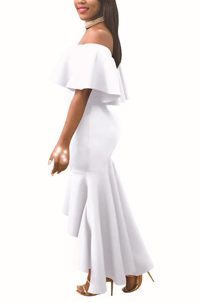 Очаровательная Роса Плеча Falbala Дизайн Белый Полиэстер Лодыжки Длина Платье