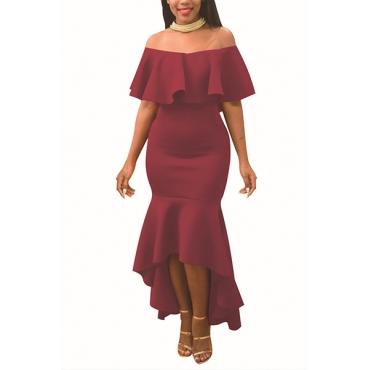 Encantador hombro Dew Falbala diseño de vino rojo poliéster vestido de longitud de tobillo