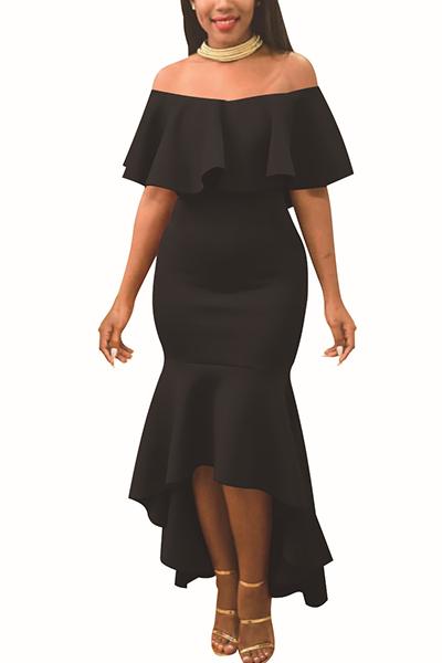 Charming Dew Shoulder Falbala Design Black Polyester Ankle Length Dress
