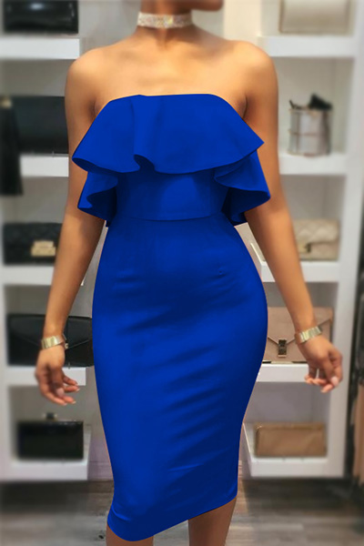 Charming Dew Shoulder Falbala Design Blue Cotton Sheath Knee Length Dress