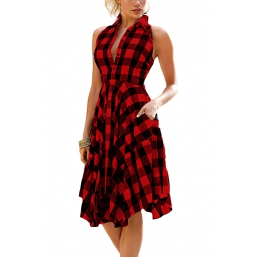 Stylish Turndown Collar Sleeveless Plaids Red Polyester Knee Length Dress