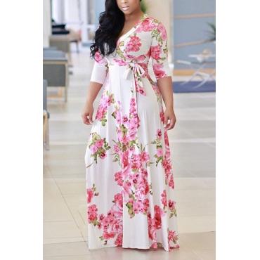 Charming V Neck Floral Print White Milk Fiber Floor Length Dress