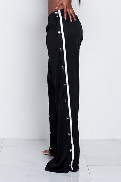 Модные Эластичные Талии С Высоким Расколом Черные Брюки Qmilch