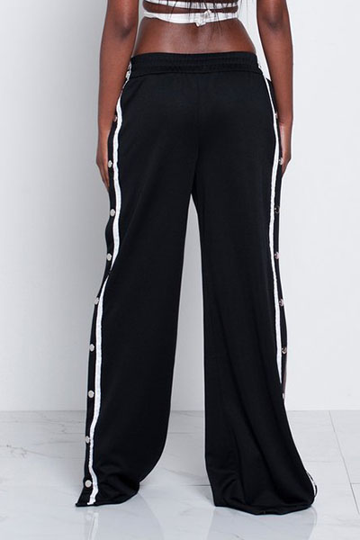 Trendy Elastic Waist High Split Black Qmilch Pants