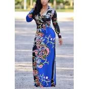 Euramerican V Шеи С Длинным Рукавом Цветочный Принт Синий Здоровый Ткань Длина Пола Платье