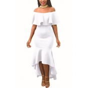 Charmante Tau Schulter Falbala Design Weiß Polyester Knöchel Länge Kleid