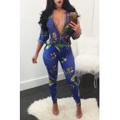Fashion V Neck Long Sleeves Printed See-Through Blue Chiffon Two-piece Pants Set
