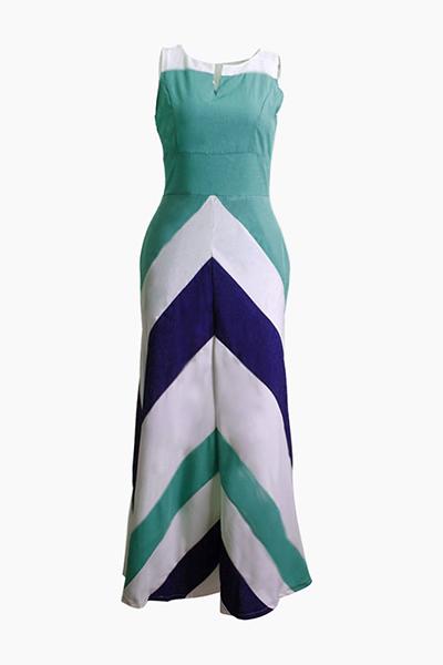 Bohemian V Neck mangas Striped impresso azul vestido de poliéster comprimento do tornozelo
