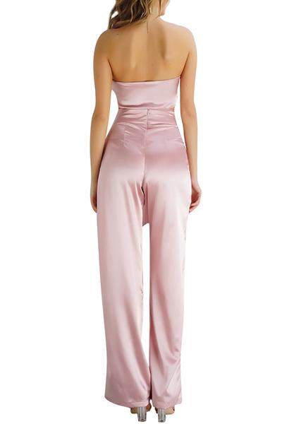 Розовые атласные брюки сплошной Бато шеи рукавов сексуальные две пьесы