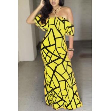Encantador chaleco de cuello mangas cortas Falbala diseño amarillo leche de fibra de vaina tobillo vestido de longitud