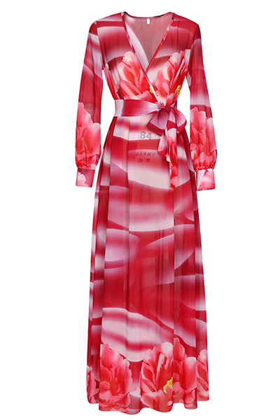 Euramerican V Neck Long Sleeves Printed Red Chiffon Floor Length Dress