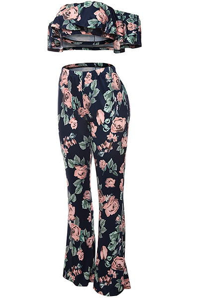 Charming Dew Shoulder Short Sleeves Floral Print Navy Blue Qmilch Two-piece Pants Set