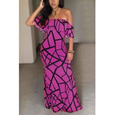 Charming Bateau Neck Short Sleeves Falbala Design Purple Milk Fiber Sheath Ankle Length Dress