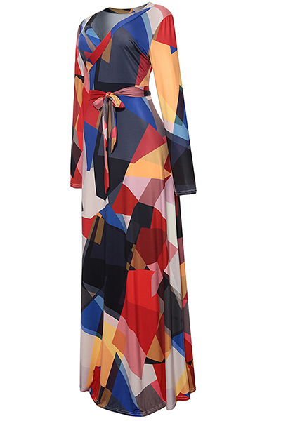 Stylish V Neck Printed Black Healthy Fabric Ankle Length Dress (With Belt)